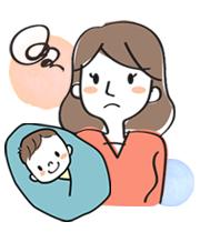 育児に悩む女性のイラストl